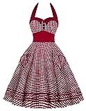 JS Fashion Vintage Dress Grace Karin Womens 50s Vintage Style Cocktail Dress Full Circle Halter Dress