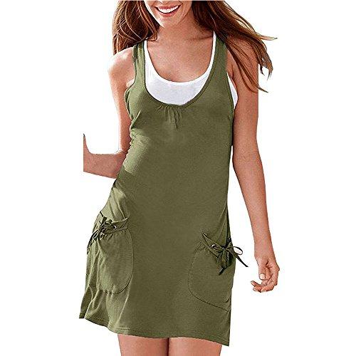 BYD Mujeres Vestidos de Verano Túnica 2PCS Casual Camisetas sin Mangas Tank Tops + Mini Vestido Playa Verde del ejército