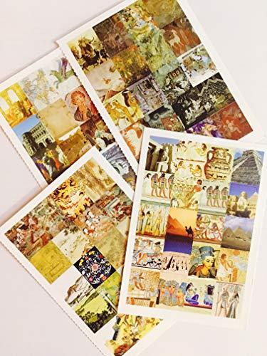 Civilization Sticker - 4 Sheets Stickers - Egyptian History Project Egypt Pyramid Renaissance History Art Indian Tibetan Rome Chinese Japanese Civilization