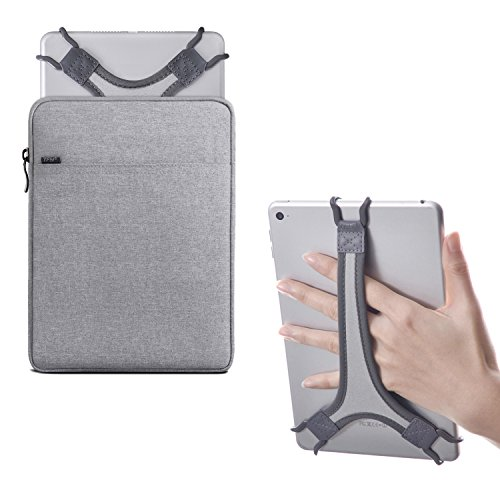 TFY Protective Pouch Bag with Zip Closure (Grey), Plus Bonus Hand Strap Holder (White) for 7-8 inch iPad and Tablets
