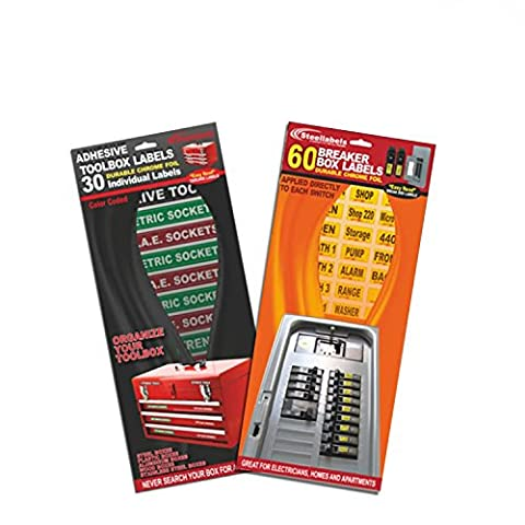 Breaker Box Decals plus Adhesive Toolbox Label Combo. Tough vinyl labels for Circuit Breakers and Chrome Foil Toolbox Labels for your toolbox, great for Apartment Complexes and (Tough Chest)