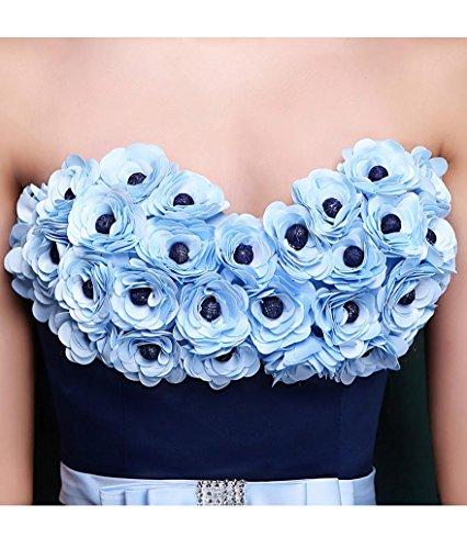 Schlauch Emily Hochzeits Kugel trägerloses Band Kleid Spitze Blumen Schatz Beauty Blau handgemachtes UYgnwTqaq