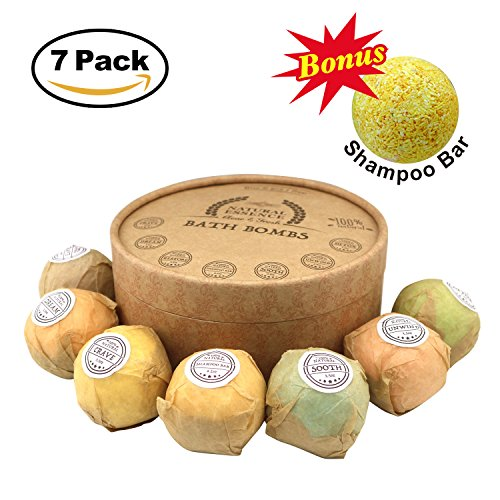 All Natural Ingredients Bath Bomb Gift Set, 7 Pack Aromatherapy SPA Kit, Bath Bombs with Pure Essential Oil (Therapy Spa Gift)