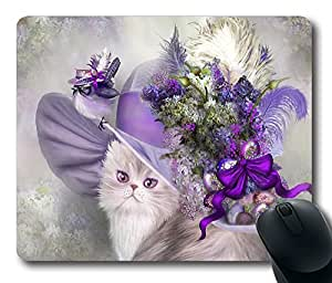 Cat In Easter Lilac Hat Thanksgiving Personlized Masterpiece Limited Design Oblong Mouse Pad by Cases & Mousepads by runtopwell
