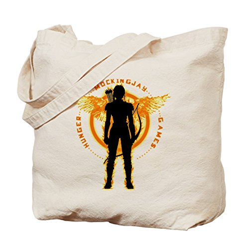 CafePress - Mockingjay Girl On Fire - Natural Canvas Tote Bag, Cloth Shopping (Katniss Bow Mockingjay)