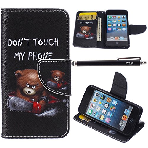 iPod Touch 5 Case, i Touch 6 Case Wallet, iYCK Premium PU Leather Flip Folio Carrying Magnetic Closure Protective Shell Wallet Case Cover for iPod Touch 5/6 with Kickstand Stand - Electric Saw Bear