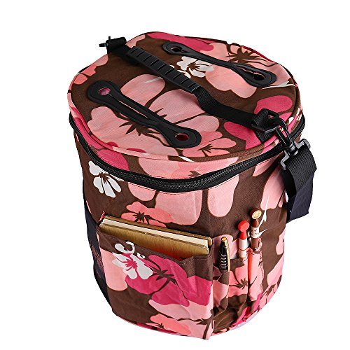 Large Knitting Tote Bag for Carrying Skeins Knitting Needles and Crochet Hooks Portable Storage Bag For Yarn Accessories Prevents Tangling (Pink) by CCF
