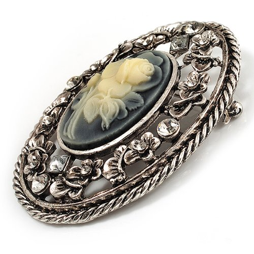 Vintage Floral Crystal Cameo Brooch Antique Silver Finish