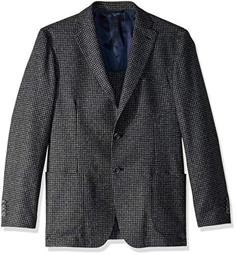 (Bugatchi Men's Cotton Houndstooth Pattern Blazer, Navy, 46)