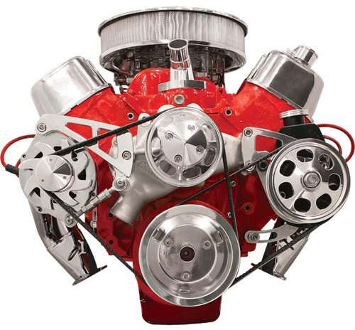 NEW BILLET SPECIALTIES BIG BLOCK CHEVY POLISHED FRONT ENGINE SERPENTINE CONVERSION KIT WITH KEYWAY POWER STEERING PUMP PULLEY & BRACKET, MIDDLE PASSENGER-SIDE ALTERNATOR MOUNTING BRACKET, BBC WATER PUMP, CRANK, & ALTERNATOR (Big Block Power Steering)