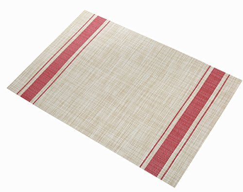 Placemats Ivalue PVC Place Mats Washable Bamboo Placemats for Table Non Slip Woven Plastic Table Mats (Set of 6, Red) - Placemats materail: The dining table placemats are made of 70% good quality PVC and 30% polyester yarn, which is co-friendly and safe for kitchen dinning table use Rectangle PVC table mats size: 18 X 12in(45 X 30cm approx), 6 sets of washable placemats per package, non slip placemats for dining table Heat resistant placemats: vinyl placemats sets insulation effect could reach to 80℃, help to protect your dinning table from scalding and create an enjoyable dining environment - placemats, kitchen-dining-room-table-linens, kitchen-dining-room - 51aEXl7sNEL -