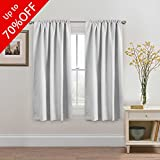 High Blackout White Curtains for Bedroom, Back Tab / Rod Pocket Thermal Insulated Window White Drapes - 52x63 Inches - 2 Panels