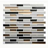 Vamos Tile Premium Anti Mold Peel and Stick Tile Backsplash,Stick On Backsplash Wall Tiles for Kitchen & Bathroom-Removable,Self Adhesive-11 x 9.2'' (6 Sheets)