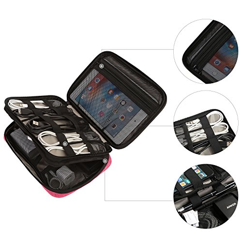BAGSMART Double-layer Travel Cable Organizer Electronics Accessories Cases for Cables, iPhone, Kindle Charger, Camera Charger, Macbook charger