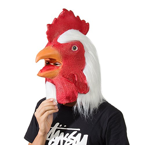 Crazy Mask (Ylovetoys Rooster Mask Latex Animal Head Mask Halloween Party Cosplay Decorations)