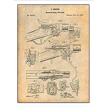 1867 Sharps Breech Loading Rifle Patent Print Art Poster UNFRAMED Parchment 18