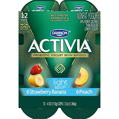 Dannon Activia Lowfat Yogurt, Strawberry/Banana & Peach Variety Pack, 4 Ounce (Pack of 12) Probiotic Yogurt Snack: Amazon.com: Grocery & Gourmet Food