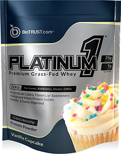 BioTrust Platinum1 Premium Grass Fed Whey Protein, Ultra-Pure, Ultra-Clean, 100% Hydrolyzed Whey Protein Isolate - Vanilla Cupcake - Protein Vanilla Cake