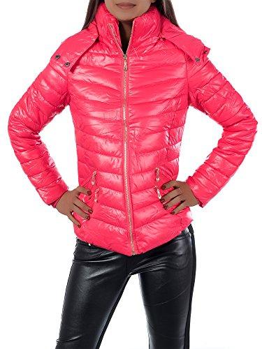 L570 Damen Winter Jacke Steppjacke Parka Jacket Daunen Look Winterjacke, Farben:Pink;Größen:L