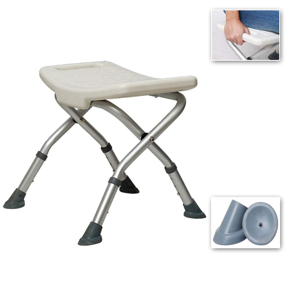 Old Man Bath Stool with Armrests, Non-Slip Bathroom/Shower Stool, Aluminum Alloy Maternity Bath Chair, Foldable + Adjustable Height + Load Bearing 136KGfor Elderly, Handicapped by HLDWXN