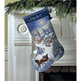 """Gold Collection Sleigh Ride At Dusk Stocking Counted Cross -16"""" Long 16 Count/ Sold as a pack of 1"""