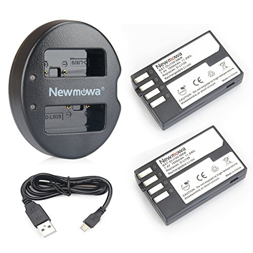 (Newmowa D-Li109 Replacement Battery (2-Pack) and Dual USB Charger for Pentax D-LI109 and Pentax K-r, K-30, K-50, K-500)