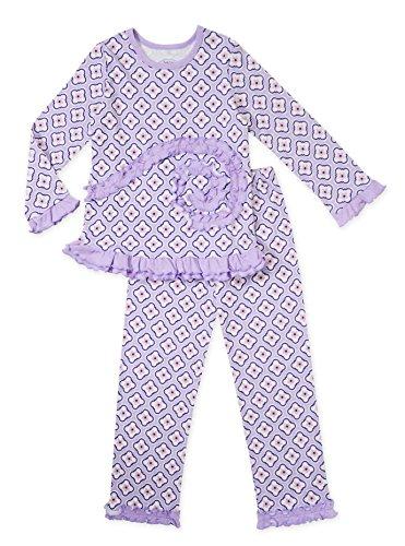 Sara's Prints Girls' Purple Quatrefoil 2-Piece Pajama Set, Toddlers Size (Saras Prints Girls 2 Piece)