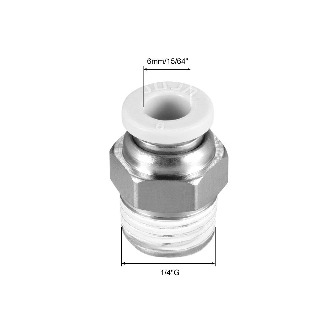 uxcell Straight Pneumatic Push to Quick Connect Fittings G1//4 Male x 6mm Tube OD White