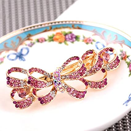 SPHTOEO Women's Multi Bowknot Shaped Rhinestone Hair Barrette Clip Accessary (Champagne)