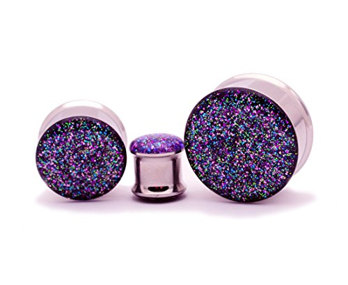 (Mystic Metals Body Jewelry Double Flare Galaxy Glitter Plugs - Sold As a Pair (5/8