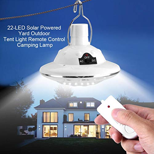 Rambling Solar Circular Hooking Remote Control Lamp, New 22LED Outdoor/Indoor Solar Lamp Camp Garden Lighting Wireless Powered Light