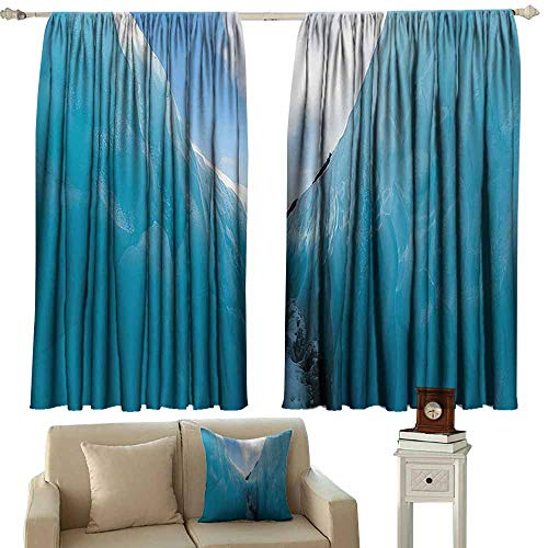 Tankcsard Grommet Curtains Nature Decor,Frozen Ice Mountains in North South Polar Cubes Winter Theme Art Print,White and Blue 54
