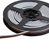 Mokungit 16.4ft/32.8ft/328ft 3Pin 18AWG LED Extension Cable 3Pin Red Green White Wire Antioxidant Tin Plated Copper Wire For WS2812B WS2812 WS2811 LED Pixel Module Light (32.8ft)