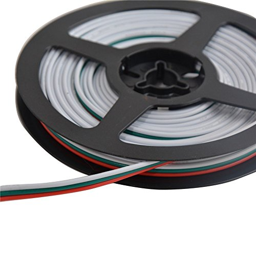MOKUNGIT 32.8ft 3Pin 18AWG LED Extension Cable 3Pin Red Green White Wire Antioxidant Tin Plated Copper Wire For WS2812B WS2812 WS2811 LED Pixel Module Light (32.8ft)