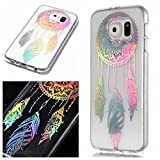 For Samsung Galaxy S6 Case Clear Silicone Phone Cover and Screen Protector, OYIME Creative Plating Design with Bright Pattern Skin Ultra Thin Slim Soft Silicone Rubber Glitter Brilliant Transparent Protective Back Cover Anti-Scratch Drop Protection Shockproof Bumper Cases - Dream Catcher