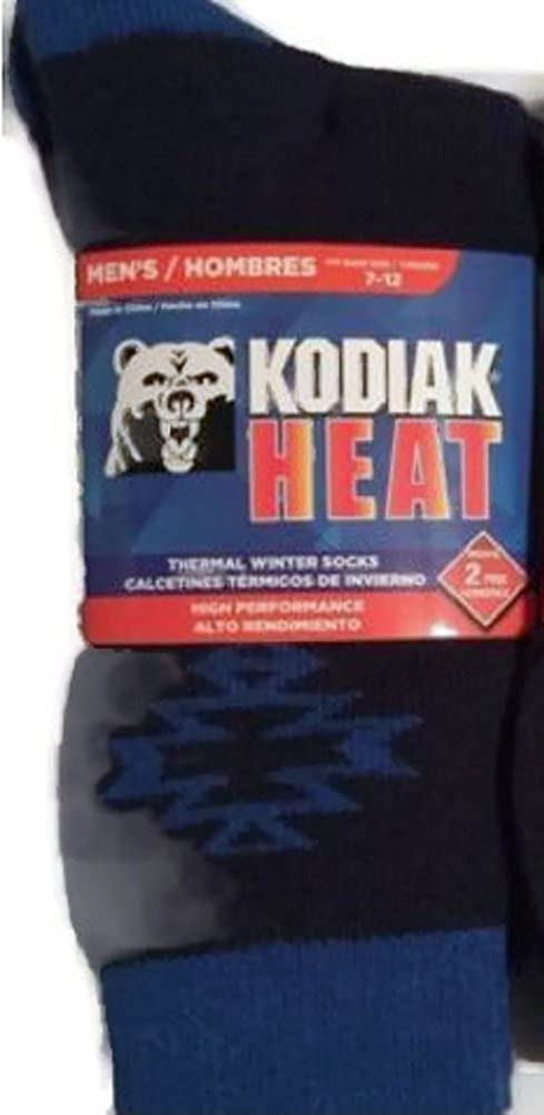 Kodiak Heat Mens Crew 2-Pair Thermal Winter Socks US Shoe Size 7-12 (Navy Blue Print) at Amazon Mens Clothing store: