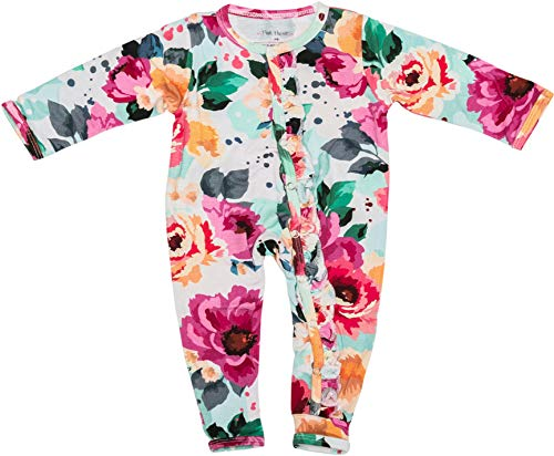 Posh Peanut One Piece Romper Silky Soft & Breathable - Premium Knit Infant Clothing - Bamboo Viscose (Fuchsia Wild Flower, 3-6 Months)