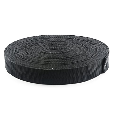 Weoxpr Lightweight Polypropylene Webbing, 1 Inch W x 20 Yards, Black, for Lawn Chairs, Hammocks, Towing, Outdoor Climbing and DIY Making Luggage Strap, Pet Collar, Backpack Repairing (800 Lb Capacity Hammock)