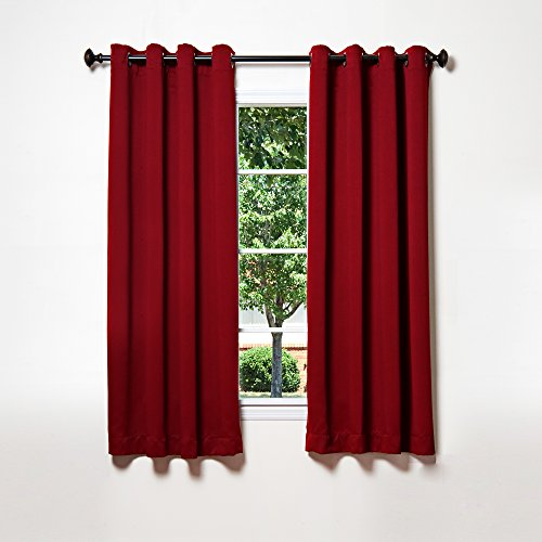 Grommet Top Velvet Panels (Best Home Fashion Thermal Insulated Blackout Curtains - Antique Bronze Grommet Top - Burgundy - 52