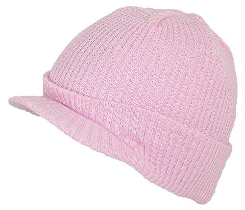 City Hunter Adult Waffle & Rib Knit Cuffed Beanie Cap W/Visor (One Size) - Pink
