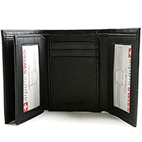 Mens Trifold Wallet Extra Capacity 10 Inside Slots 2 ID Windows By Alpine Swiss