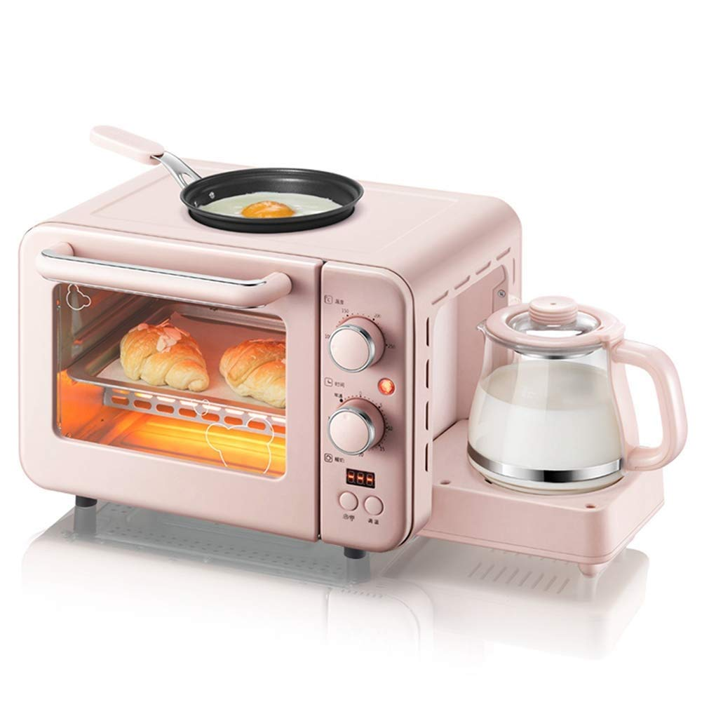 HUShjsd Electric Oven,3 In 1 Breakfast Machine Electric Oven Coffee Maker Eggs Frying Pan Household Bread Pizza Oven Grill 8L/1400W