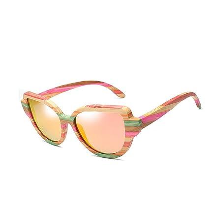 Ouyangyan Gafas de Sol de Madera clásicas de Las Mujeres Marco de Lente de protección UV