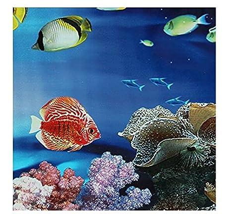 Fondo del Tanque del Acuario con El Mar Azul, Cartel del Paisaje del Océano del Acuario de Los Pescados: Amazon.es: Bricolaje y herramientas