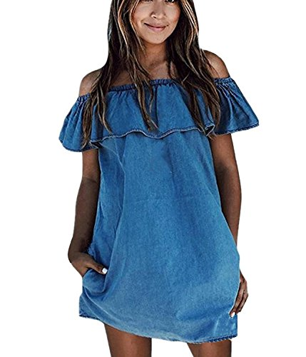 Off Caat Dress Loose Women's Legging Sleeve Short Shoulder Ruffle Aycox Mini Blue Blue Jean a4XTwa