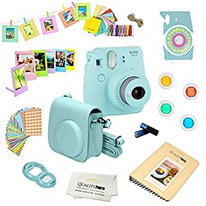 Fujifilm Instax Mini 9 Camera ICE BLUE + Accessories kit for Fujifilm Instax Mini 9 Camera Includes; Fuji Instant Camera (NEW 2017 Release) + Camera Case + instax Album + Frames + Color lens + MORE
