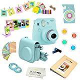 Fujifilm Instax Mini 9 (Ice Blue) Deluxe kit bundle Includes -Instant camera - Custom Camera Case - instax Album - Frames -Wall Hang Frames- Stickers - Close up lens + MORE
