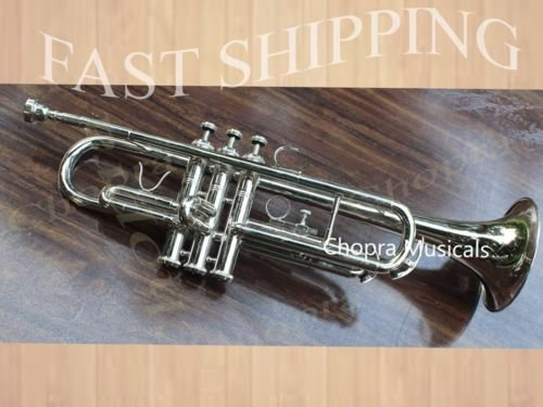 Trumpet Brand New Nickel Plated Bb With Free Bag + Mouth piece ''Chopra'' by Chopra