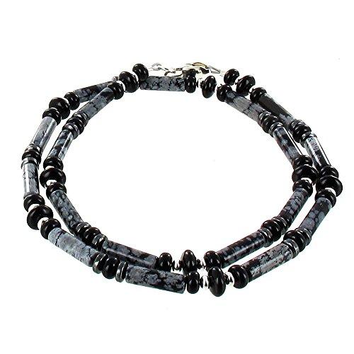 Snowflake Obsidian, Black Onyx, Black Agate, Hematite (Hemalyke) & Sterling Silver Mens Beaded Necklace - 16