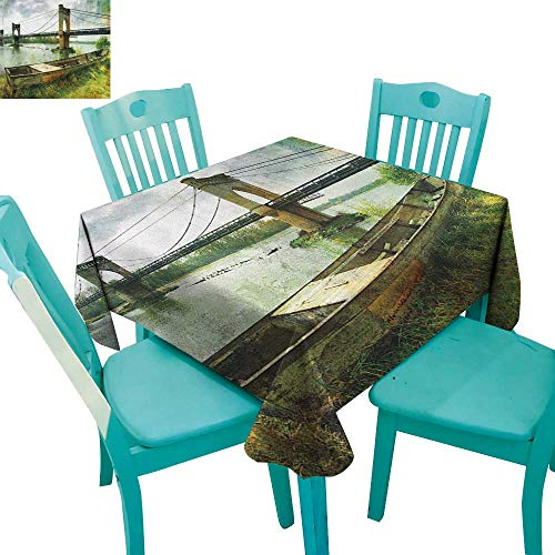 longbuyer Landscape,Printed Tablecloth,Bridge and Old Boat on Riverside